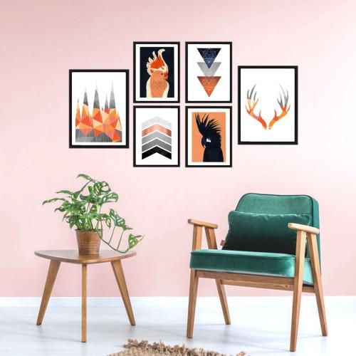 Papağanlar Turuncu Poster Set