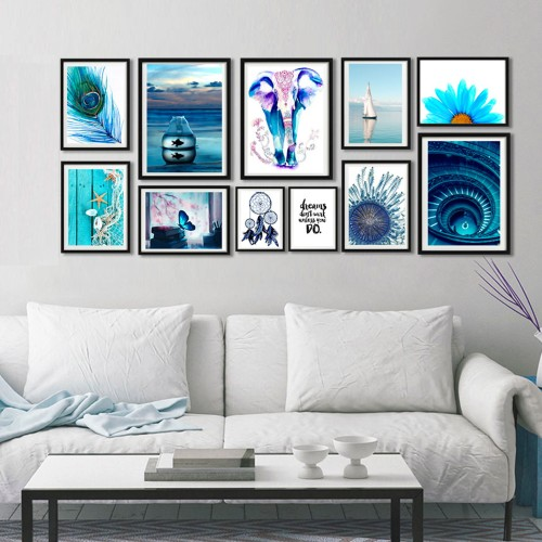 Mavi Maznara Çerçeveli Poster Seti