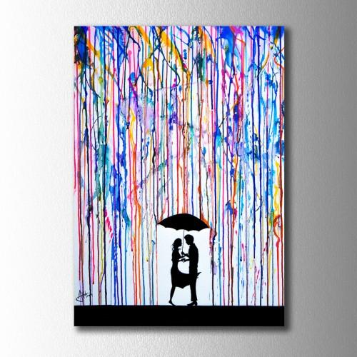Renk Yağmurunda Sarılan Çift Kanvas Tablo