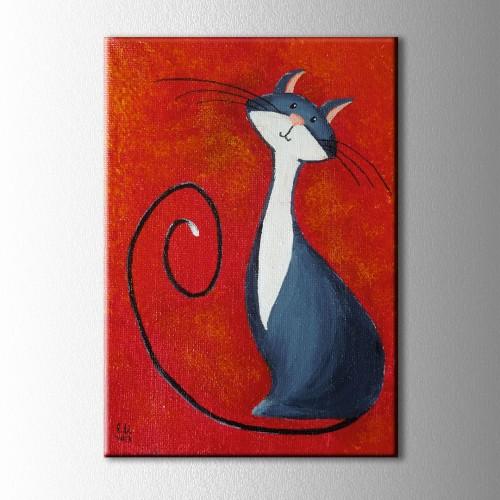 Mavi Kedi Kanvas Tablo