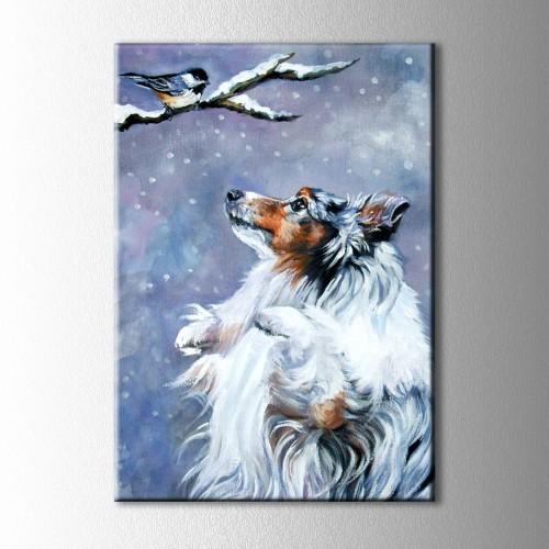 Karda Köpek ve Kuş Kanvas Tablo