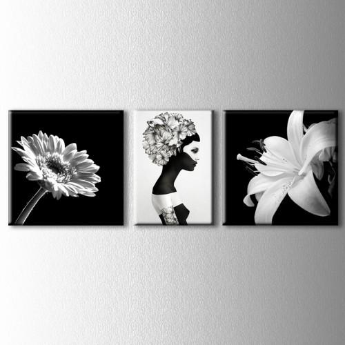 3 Parçalı Çiçekler ve Kadın Kanvas Tablo