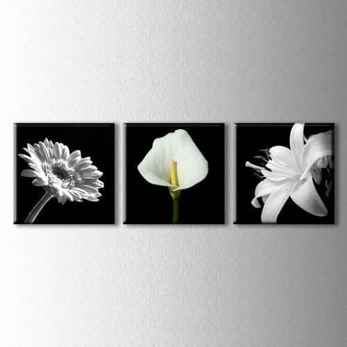 3 Parçalı Çiçekler Kanvas Tablo