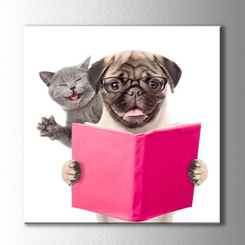 Kitap Okuyan Kedi ve Köpek Kanvas Tablo