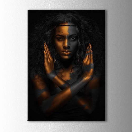 Bakır ve Siyahi Kadın Portre Kanvas Tablo