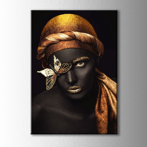 Altın ve Siyahi Kadın Kelebekli Portre Kanvas Tablo