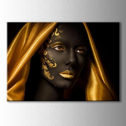 Altın Eşarp Siyahi Kadın Kanvas Tablo