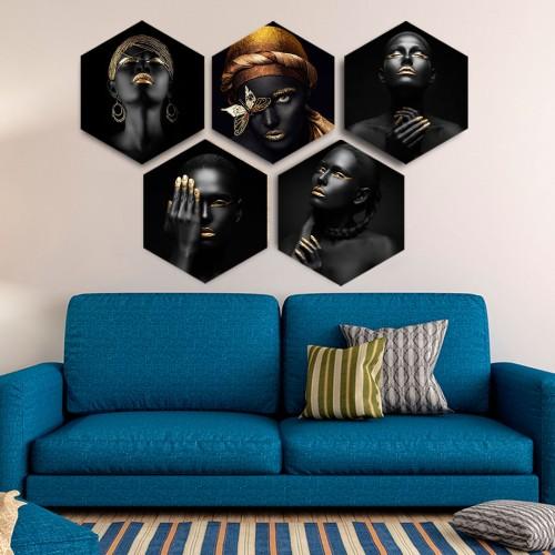 Altın ve Siyahi Kanvas Tablo Set
