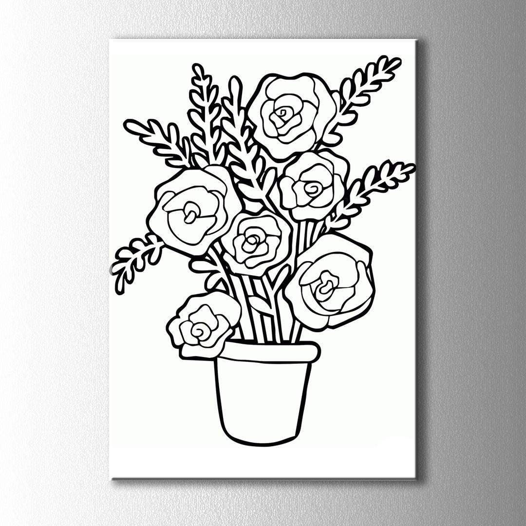 Vazo Ve çiçekler Boyama Kanvas Tablo