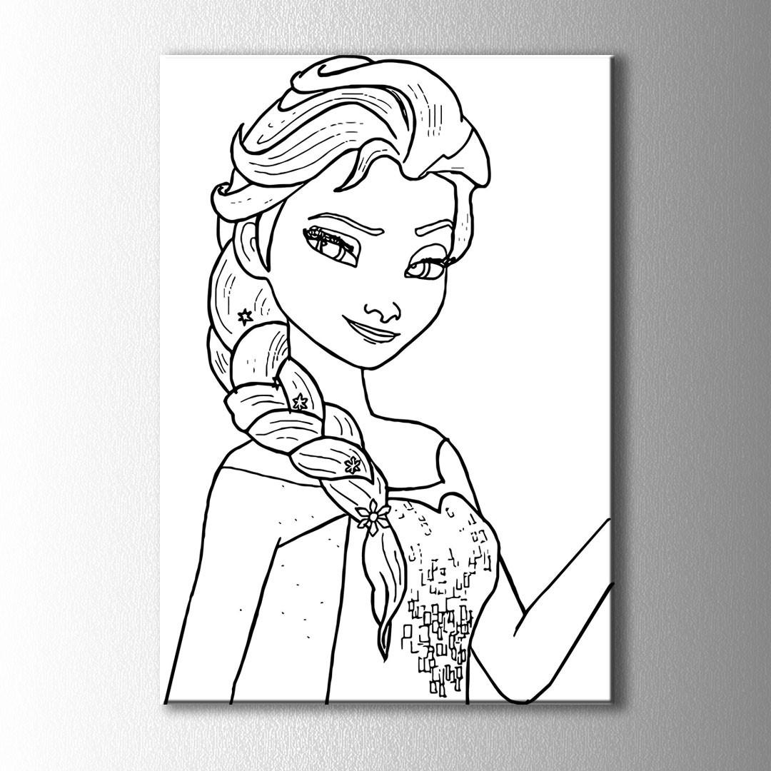 örgü Saçlı Kız Boyama Kanvas Tablo