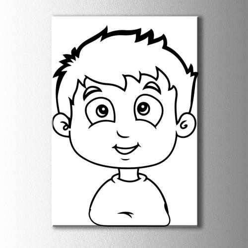 Büyük Gözlü Çocuk Boyama Kanvas Tablo