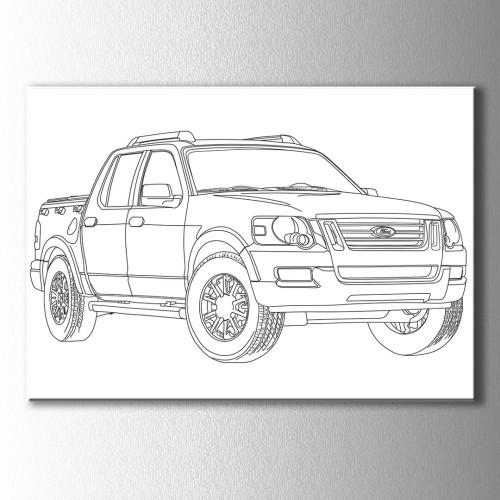 Ford Kamyonet Boyama Kanvas Tablo