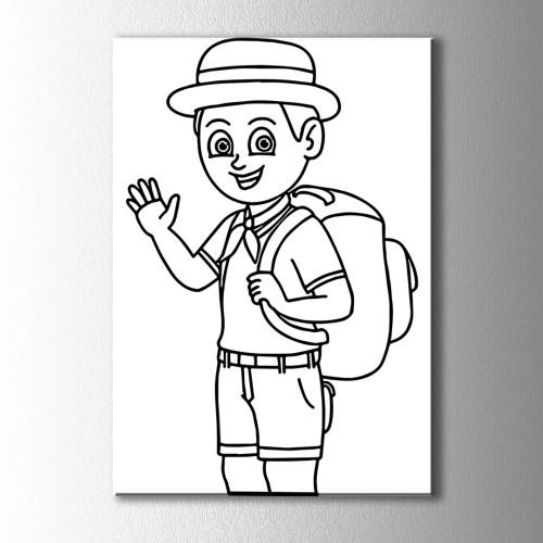 İzci Çocuk Boyama Kanvas Tablo