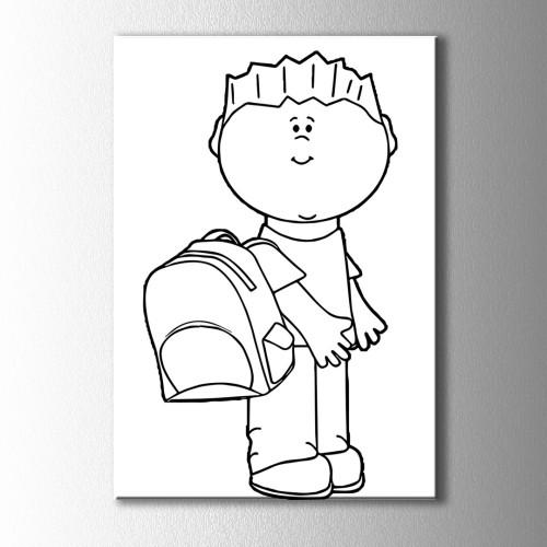 Çantalı Çocuk Kanvas Tablo
