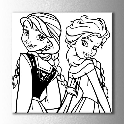 İki Kız Kardeş Boyama Kanvas Tablo