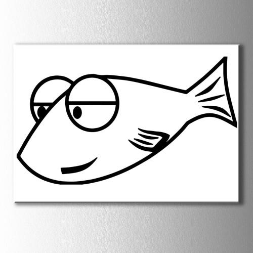 İri Gözlü Balık Boyama Kanvas Tablo