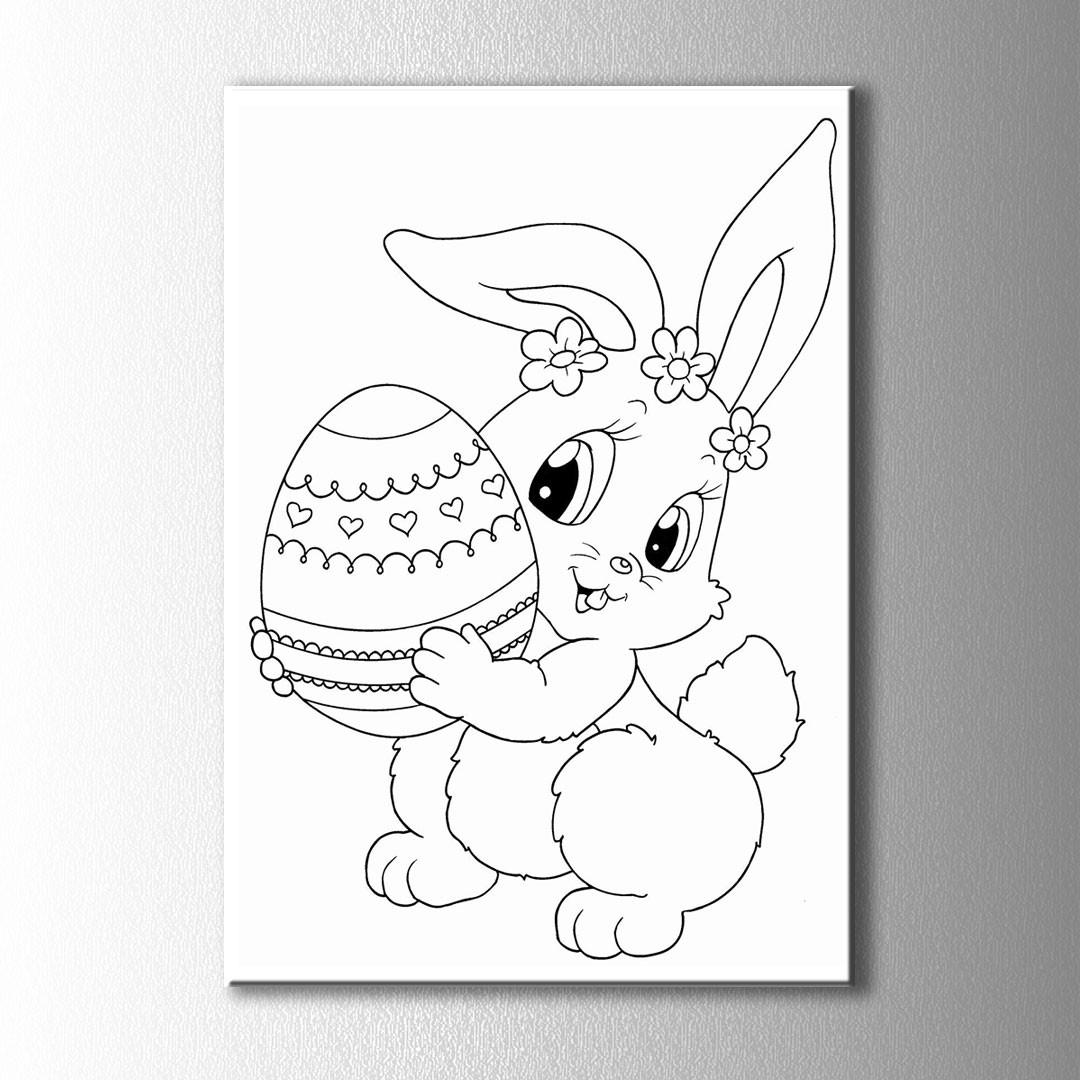 Yumurta Ve Tavşan Boyama Kanvas Tablo