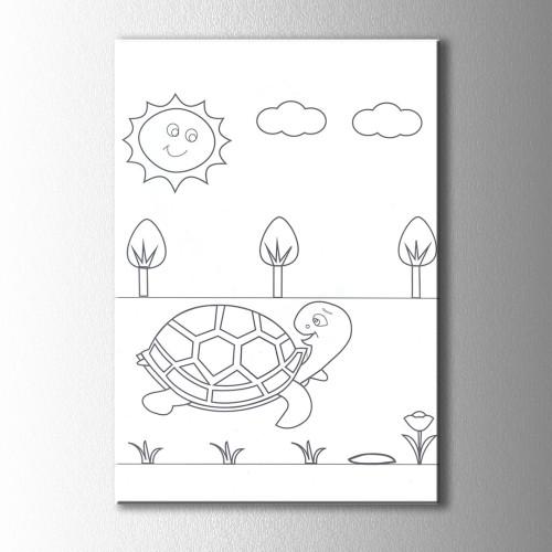 Güneş ve Kaplumbağa Boyama Kanvas Tablo