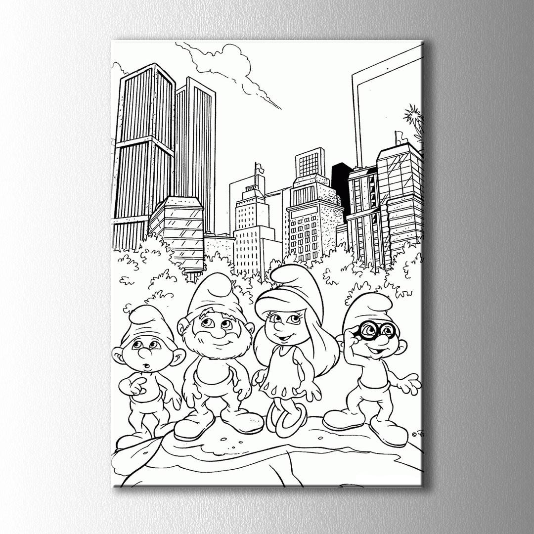 şirinler Büyük şehirde Boyama Kanvas Tablo