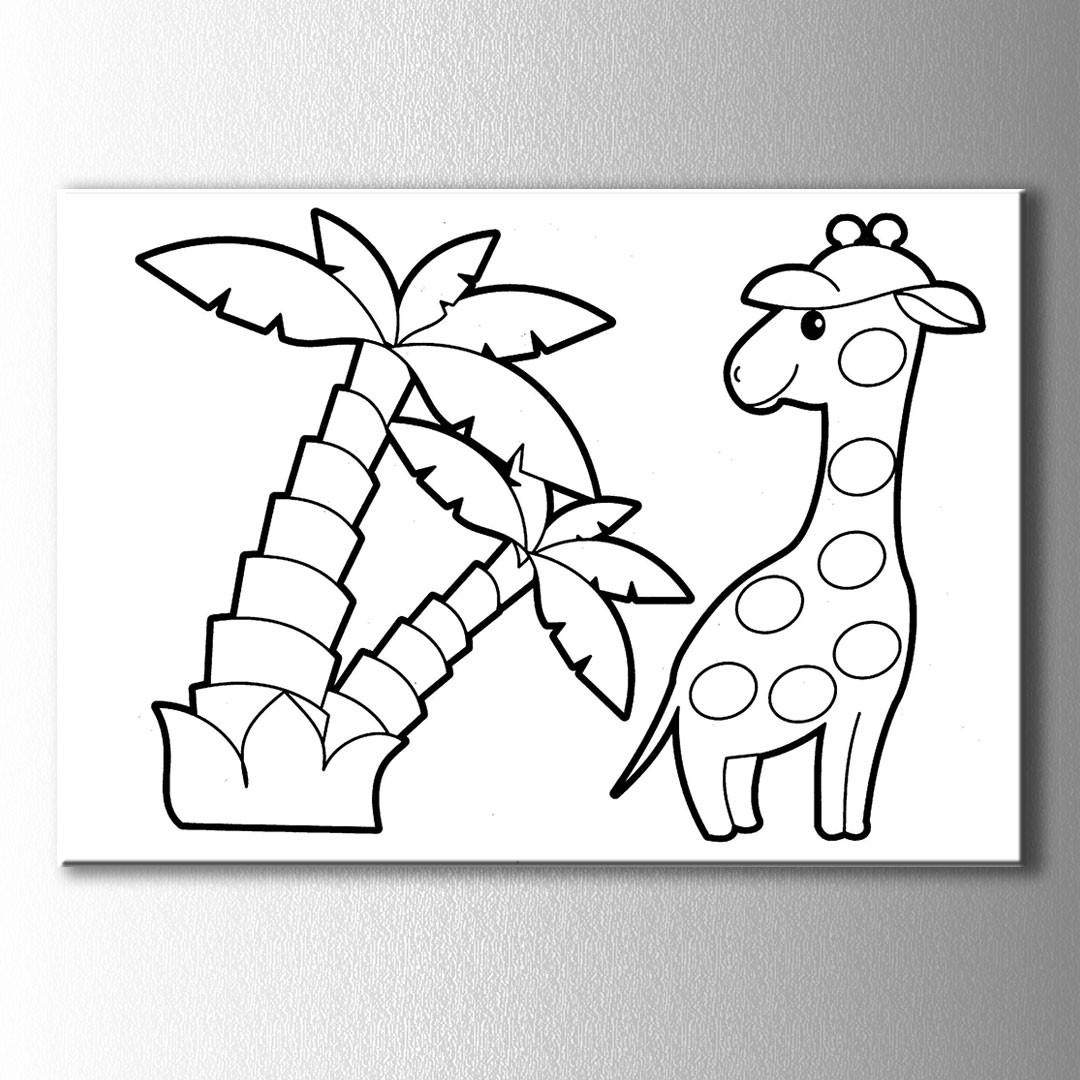 Zürafa Ve Palmiye Boyama Kanvas Tablo