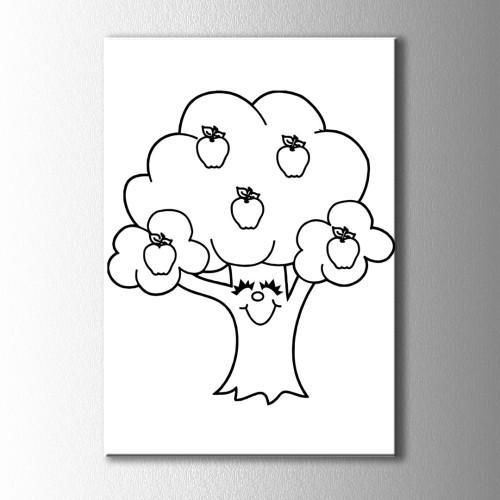 Elma Ağacı Boyama Kanvas Tablo