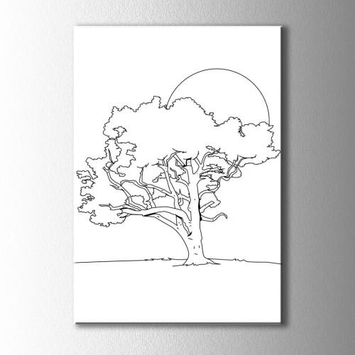 Ağaç ve Güneş Boyama Kanvas Tablo