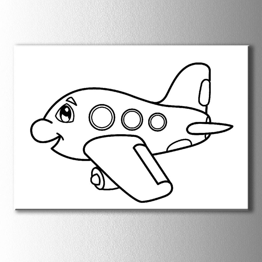 Mutlu Uçak Boyama Kanvas Tablo
