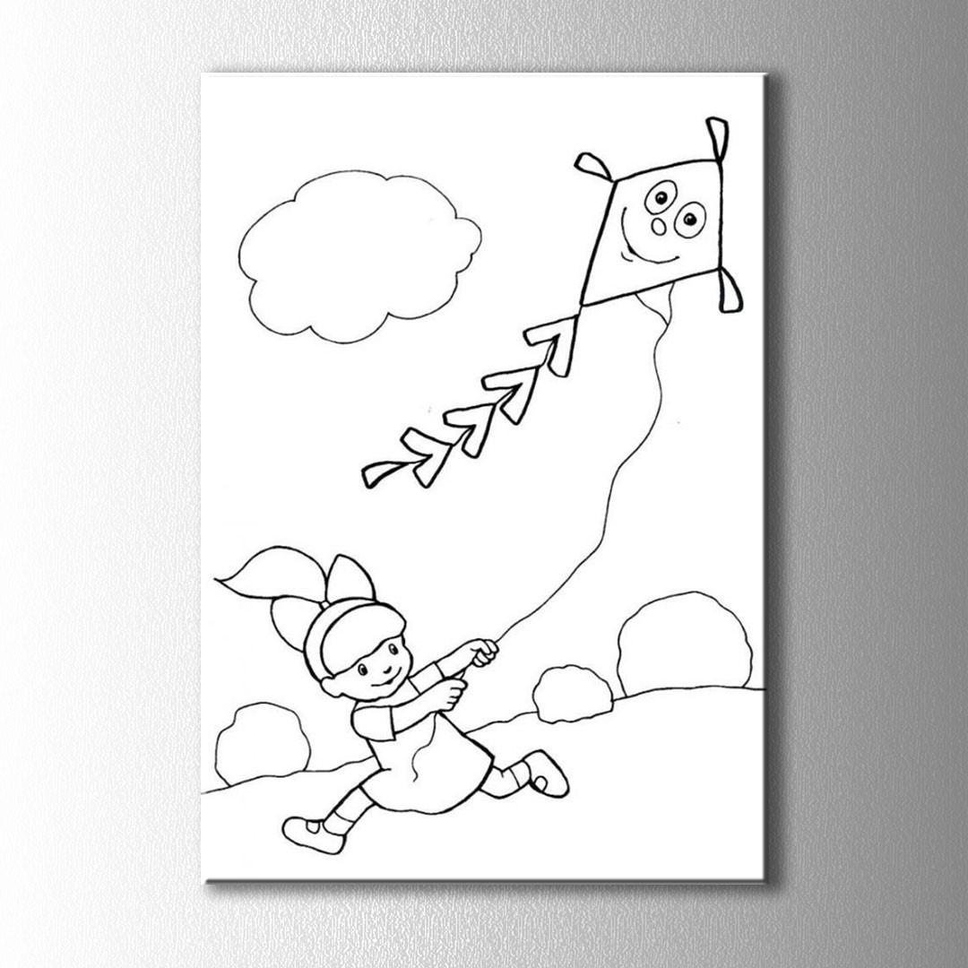 Uçurtma Ve çocuk Boyama Kanvas Tablo