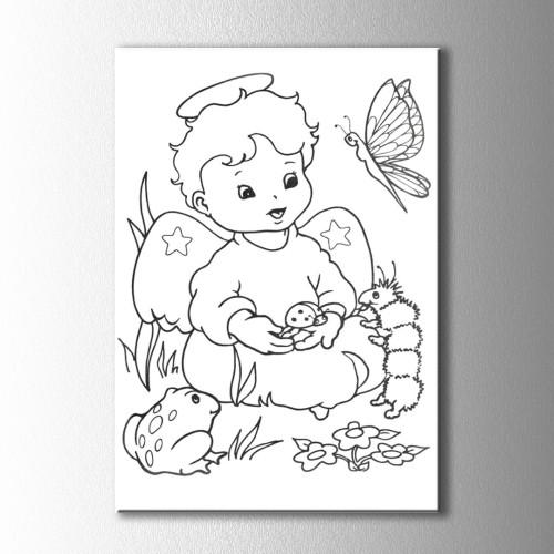 Melek ve Hayvanlar Boyama Kanvas Tablo