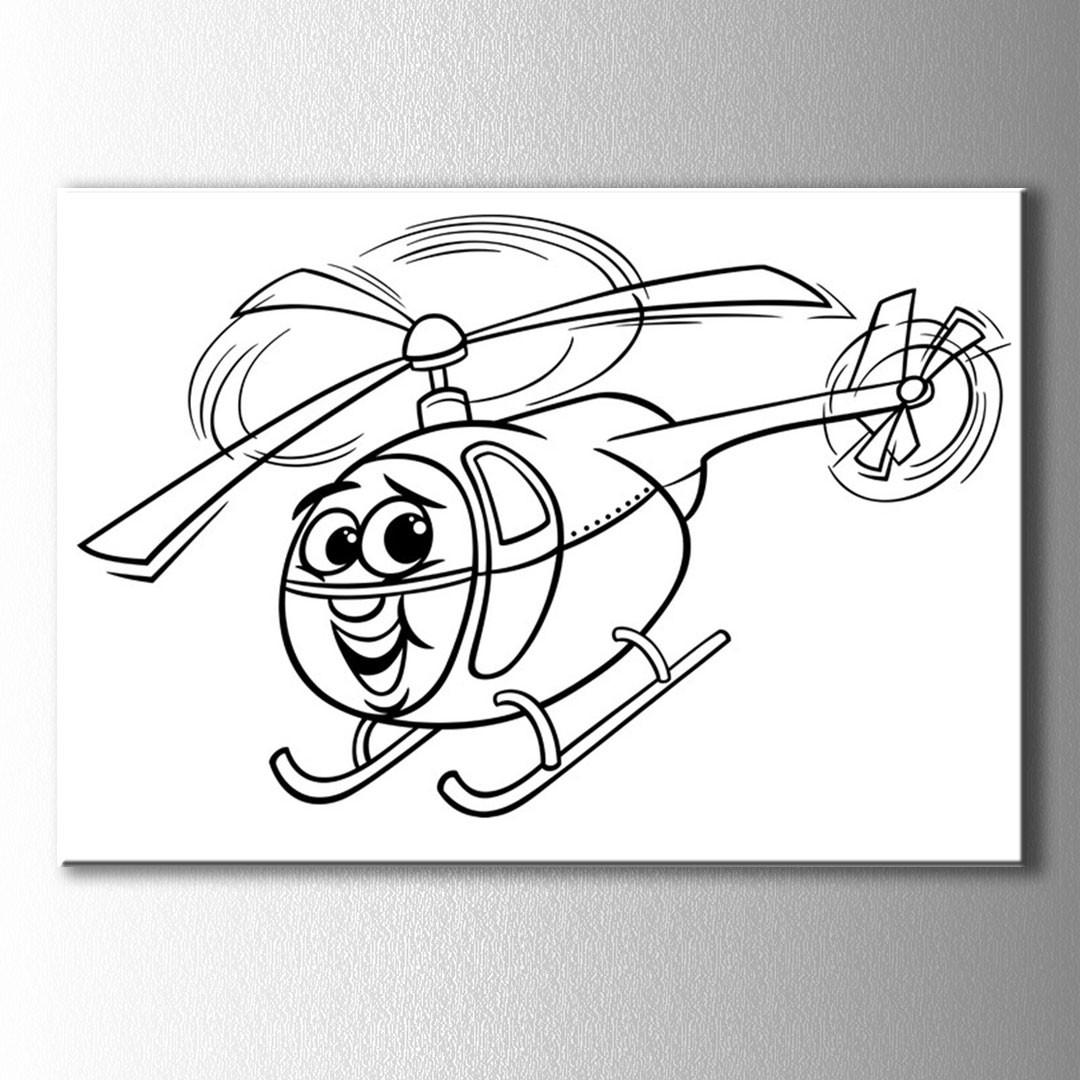 Helikopter Boyama Kanvas Tablo