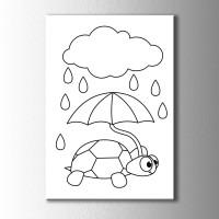 şemsiyeli Kaplumbağa Boyama Kanvas Tablo