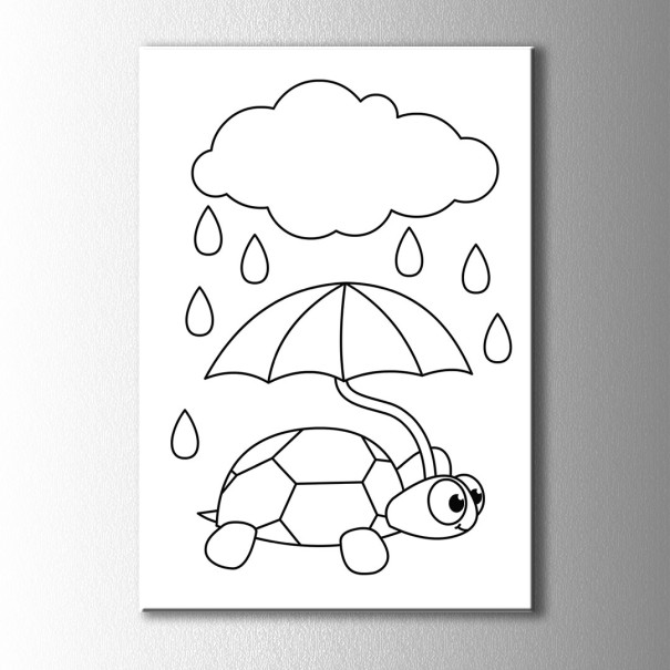 Semsiyeli Kaplumbaga Boyama Kanvas Tablo