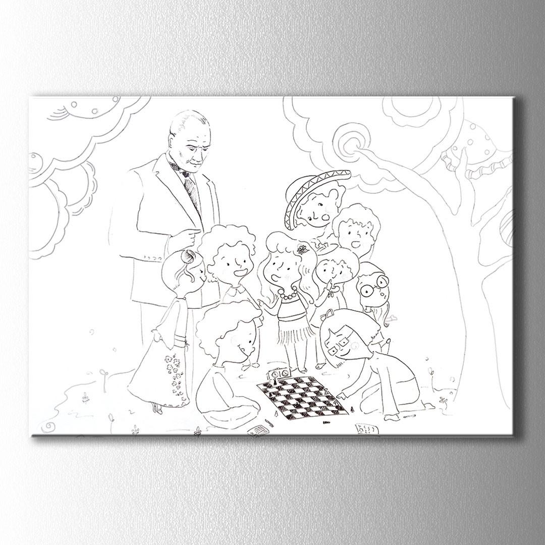 Atatürk Ve çocuklar Boyama Kanvas Tablo