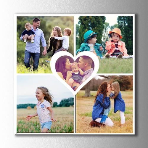 Ortası Kalp 5 Fotoğraflı Kolaj Kanvas Tablo