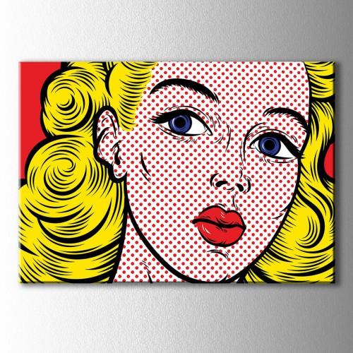 Popart Sarışın Kadın Kırmızı Noktalar Kanvas Tablo
