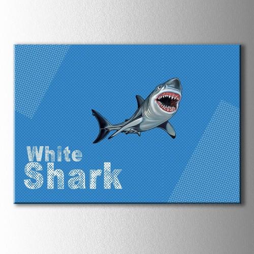 Popart White Shark Kanvas Tablo