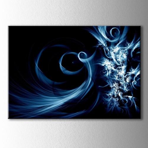 Soyut Mavi Işığın Dansı Kanvas Tablo