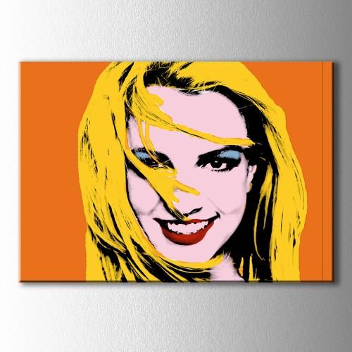 Popart Turuncu Fon Kadın Kanvas Tablo