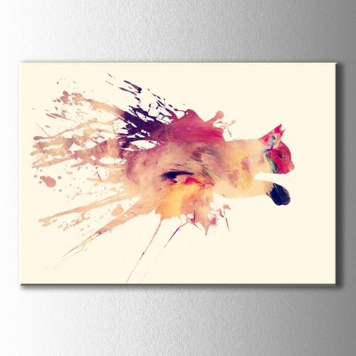 İllüstrasyon Koşan Kedi Kanvas Tablo