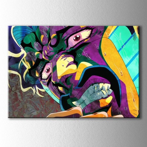 Popart Renkli Fon Kızgın Adam Kanvas Tablo