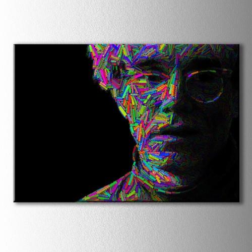 Tipografi Gözlüklü Adam Kanvas Tablo