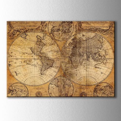 Retro Sarı Dünya Haritası  Kanvas Tablo