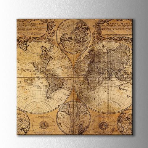 Retro Sarı Dünya Haritası Kare Kanvas Tablo
