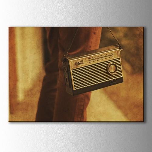 Retro Askılı Radyo Kanvas Tablo