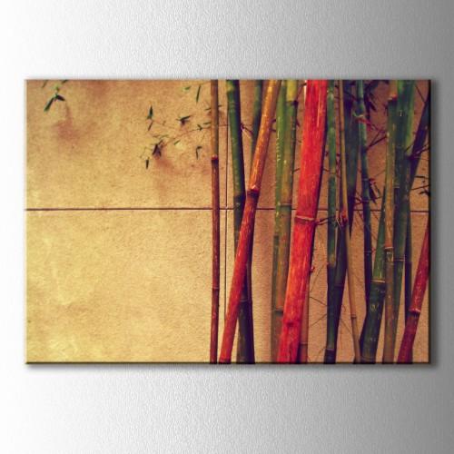 Retro Sarı Duvar Renkli Ağarçlar Kanvas Tablo