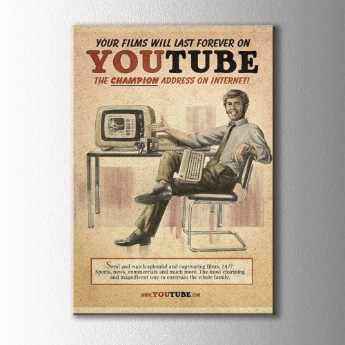 Retro Youtube Afiş Kanvas Tablo