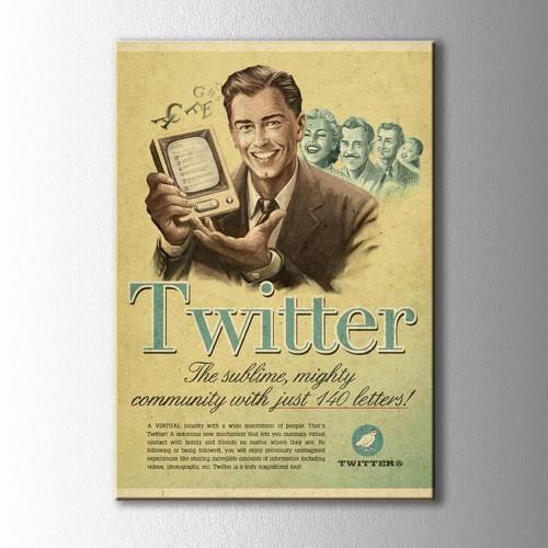 Retro Twitter Afiş Kanvas Tablo