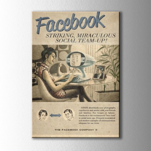 Retro Facebook Afiş Kanvas Tablo