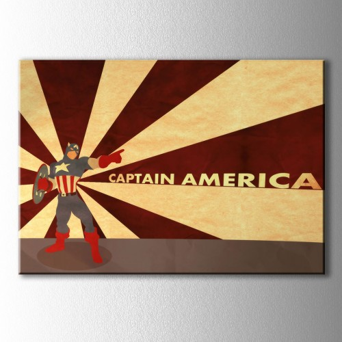 Retro Captain America Kanvas Tablo