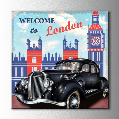 Retro Welcome to London Kare Kanvas Tablo